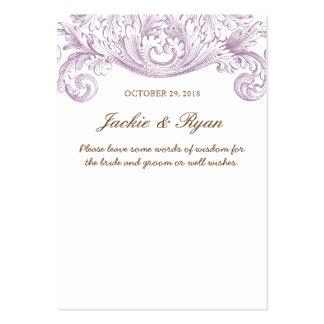 Palavras do casamento vintage do roxo do cartão do cartões de visita