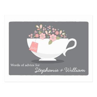 Palavras do chá de panela do Teacup floral do cart Cartão Postal