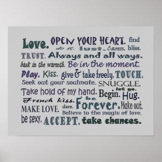 Palavras do poster da arte da colagem do amor