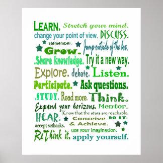 Palavras do poster da sabedoria. Aprendendo a