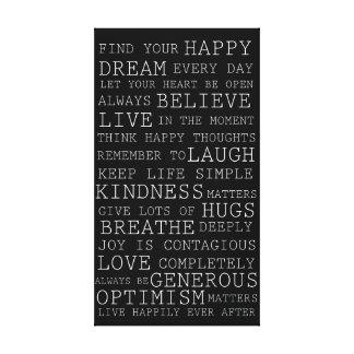 Palavras inspiradas dos pensamentos positivos impressão de canvas esticadas