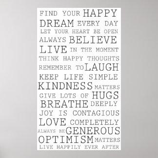 Palavras inspiradas dos pensamentos positivos posters