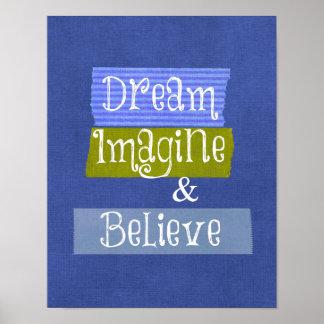Palavras inspiradas Sonhe imagine acredite Impressão