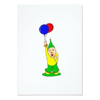Palhaço bonito do miúdo com balões convite 12.7 x 17.78cm