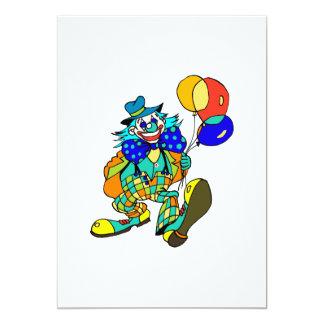 Palhaço com balões convite 12.7 x 17.78cm