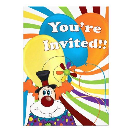 palhaço convites personalizados