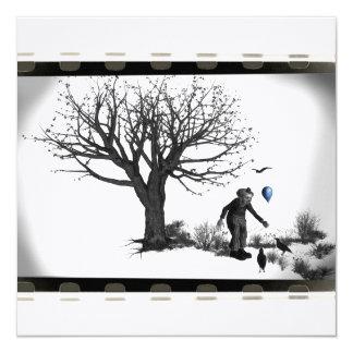 Palhaço de B&W - balão azul - árvore velha - Convite Quadrado 13.35 X 13.35cm