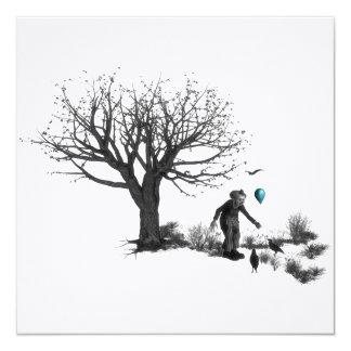 Palhaço de B&W - balão de turquesa - árvore velha