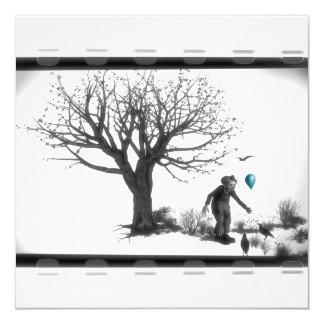 Palhaço de B&W - balão de turquesa - árvore velha Convite Quadrado 13.35 X 13.35cm