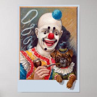 Palhaço de circo do vintage com seu cargo do cão pôster