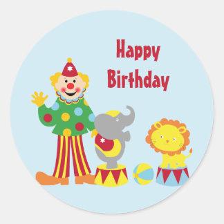 Palhaço de circo dos desenhos animados e etiquetas adesivos redondos