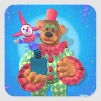 Palhaço Dinky dos ursos com Jack in the Box Adesivo Quadrado