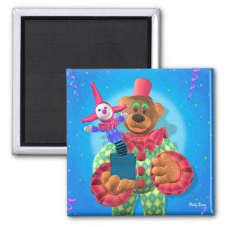 Palhaço Dinky dos ursos com Jack in the Box Ímã Quadrado