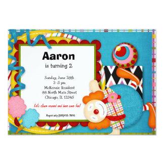 Palhaço do aniversário convite 12.7 x 17.78cm