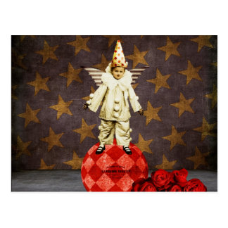 Palhaço do anjo do circo do vintage cartão postal