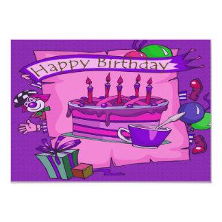 Palhaço do bobo do bolo do feliz aniversario convite 12.7 x 17.78cm