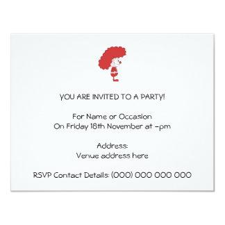 Palhaço em vermelho e em branco. Desenhos animados Convite 10.79 X 13.97cm