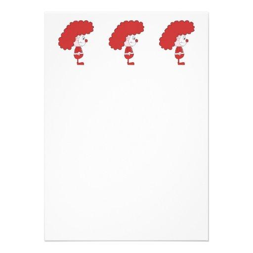 Palhaço em vermelho e em branco. Desenhos animados Convite Personalizado