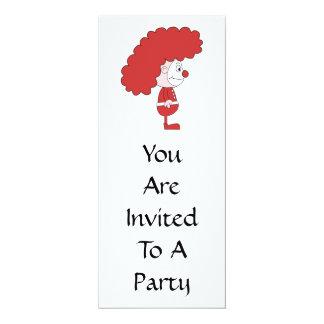 Palhaço em vermelho e em branco. Desenhos animados Convite 10.16 X 23.49cm