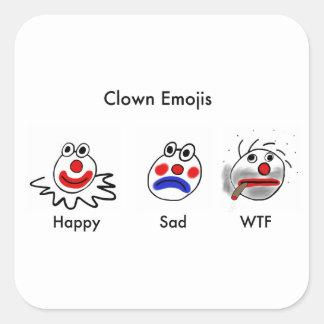 Palhaço Emojis Adesivo Quadrado