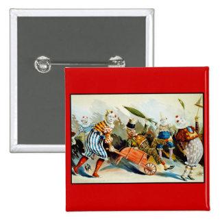 Palhaços de circo - belas artes do vintage bóton quadrado 5.08cm