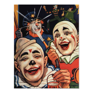 Palhaços de circo do vintage, festa de aniversário convite 10.79 x 13.97cm