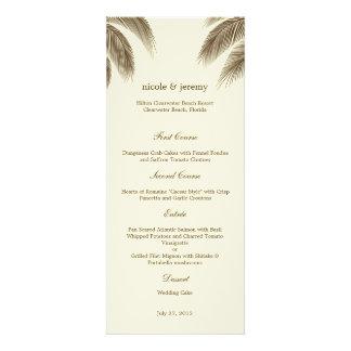 Palm Beach que Wedding o cartão do menu - Brown Convites Personalizado