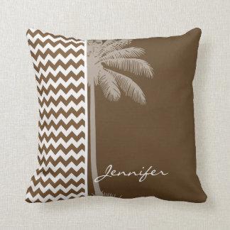 Palma do verão; Brown Chevron; ziguezague Travesseiros
