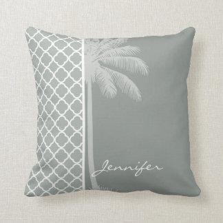 Palma do verão; Cinzas de cinza; Quatrefoil cinzen Travesseiro De Decoração
