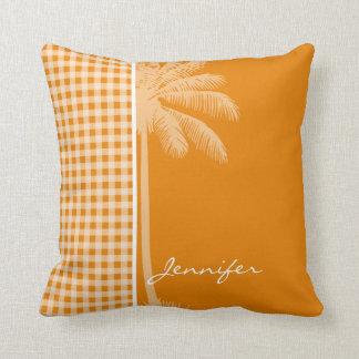 Palma do verão; Escuro - guingão alaranjado Travesseiro