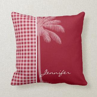 Palma do verão; Guingão do vermelho do carmim; Travesseiros De Decoração