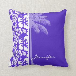 Palma do verão; Hibiscus tropical violeta azul Travesseiro De Decoração