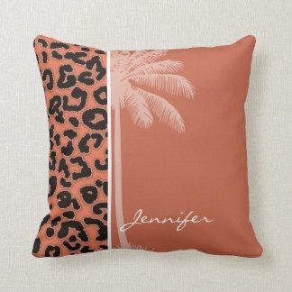 Palma do verão; Impressão animal do leopardo do Travesseiro De Decoração