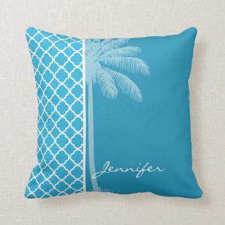 Palma do verão; Quatrefoil Cerulean brilhante Travesseiro De Decoração