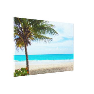 Palma na praia impressão de canvas envolvidas