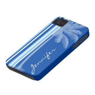 Palma tropical; Listras azuis & brancas Capa Para iPhone