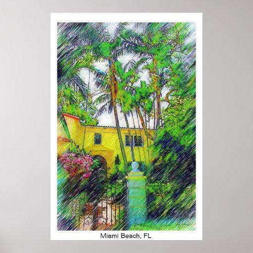 Palmas & paisagem - Miami Beach, coleção de FL Posters