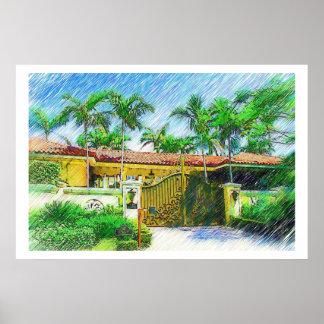 Palmas & paisagem - Miami Beach, coleção do Fl Pôsteres