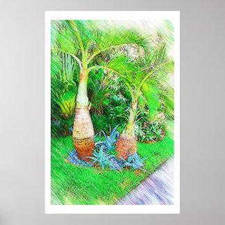 Palmas & paisagem - Miami Beach, coleção do Fl Poster
