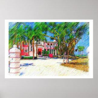Palmas & paisagem - Miami Beach, coleção do Fl Posteres