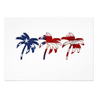 Palmeira azul branca vermelha convites