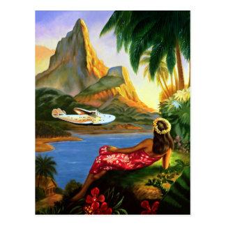 Palmeira havaiana tropical do plano de mar do cartão postal