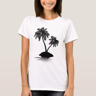Palmeira na silhueta 2 da ilha camiseta