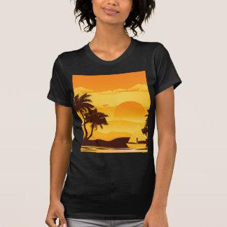 Palmeira no por do sol 2 tshirts