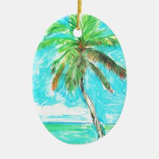 Palmeira Ornamento De Cerâmica Oval