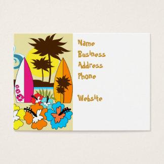 Palmeira surfando das prancha da praia do oceano cartão de visitas