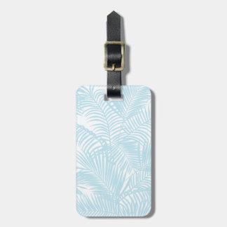 Palmeira tropical azul pastel moderna simples etiqueta de bagagem