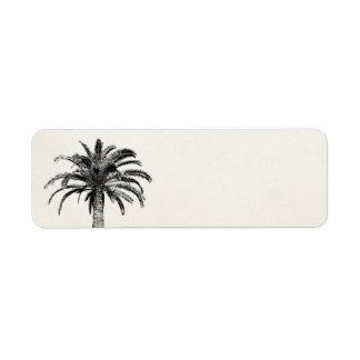 Palmeira tropical retro da ilha em preto e branco etiqueta endereço de retorno