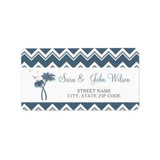 Palmeiras azuis do ziguezague que Wedding Etiqueta De Endereço