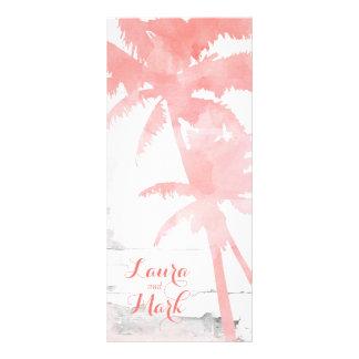 Palmeiras corais do cartão do menu do casamento de